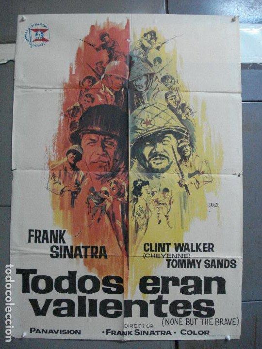 CDO 3557 TODOS ERAN VALIENTES FRANK SINATRA CLINT WALKER JANO POSTER ORIGINAL 70X100 ESTRENO (Cine - Posters y Carteles - Bélicas)