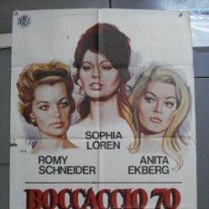 Cine: CDO 3563 BOCACCIO 70 SOFIA LOREN VISCONTI DE SICA ROMY SCHNEIDER FELLINI POSTER ORIG 70X100 ESTRENO. Lote 210014338