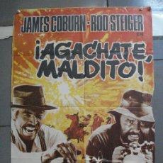 Cine: CDO 3577 AGACHATE MALDITO SERGIO LEONE JAMES COBURN POSTER ORIGINAL 70X100 ESTRENO. Lote 210034485