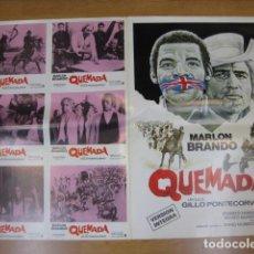 Cine: QUEIMADA QUEMADA 6 FOTOCROMOS Y POSTER CARTEL ORIGINALES DEL ESTRENO GILLO PONTECORVO MARLON BRANDO. Lote 210044023
