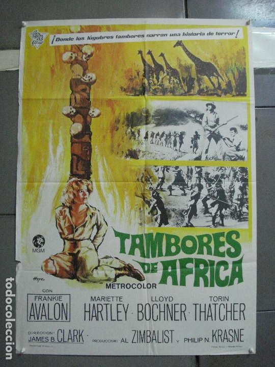 CDO 3598 TAMBORES DE AFRICA FRANKIE AVALON HEFE POSTER ORIGINAL 70X100 ESTRENO (Cine - Posters y Carteles - Aventura)