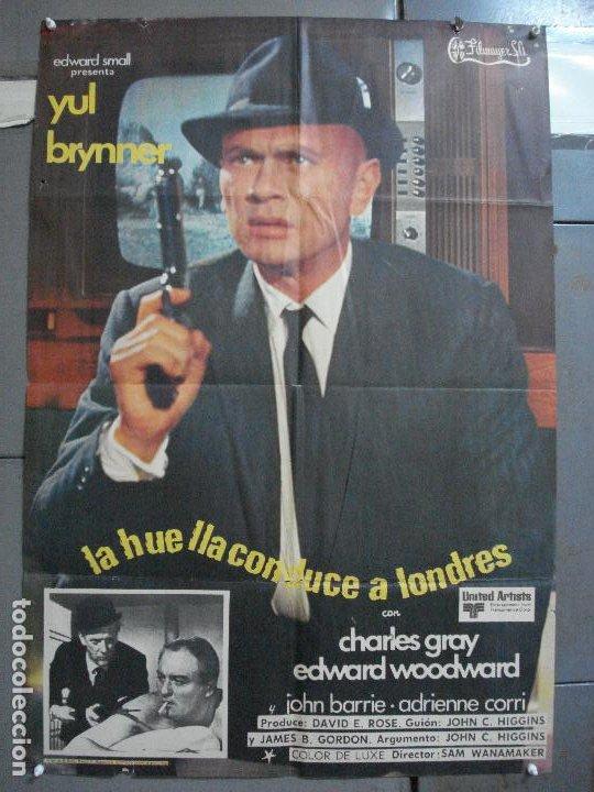 CDO 3624 LA HUELLA CONDUCE A LONDRES YUL BRYNNER POSTER ORIGINAL 70X100 ESTRENO (Cine - Posters y Carteles - Acción)