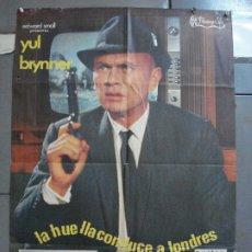 Cine: CDO 3624 LA HUELLA CONDUCE A LONDRES YUL BRYNNER POSTER ORIGINAL 70X100 ESTRENO. Lote 210108100