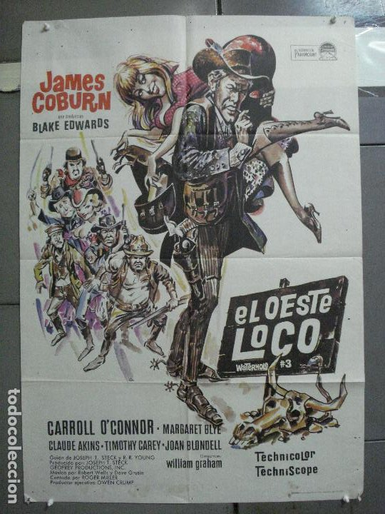 CDO 3728 EL OESTE LOCO JAMES COBURN POSTER ORIGINAL 70X100 ESTRENO (Cine - Posters y Carteles - Westerns)