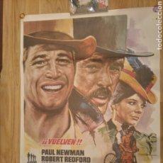 Cine: CARTEL DOS HOMBRES Y UN DESTINO REESTRENO 1977.PAUL NEWMAN Y ROBERT REDFORD. Lote 210610047