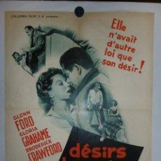 Cine: DESIRS HUMAINS - 90 X 60 - 1954 - LITOGRAFICO. Lote 211259796