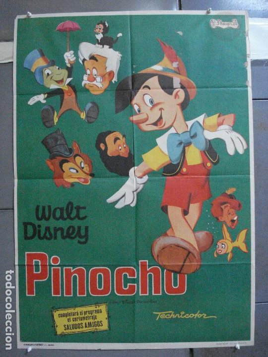 CDO 4020 PINOCHO PINOCCHIO WALT DISNEY POSTER ORIGINAL 70X100 ESPAÑOL R-74 (Cine - Posters y Carteles - Infantil)