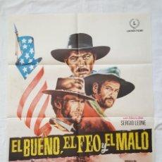 Cine: PÓSTER ORIGINAL EL BUENO, EL FEO Y EL MALO SERGIO LEONE CLINT EASTWOOD LEE VAN CLEEF. Lote 221753617
