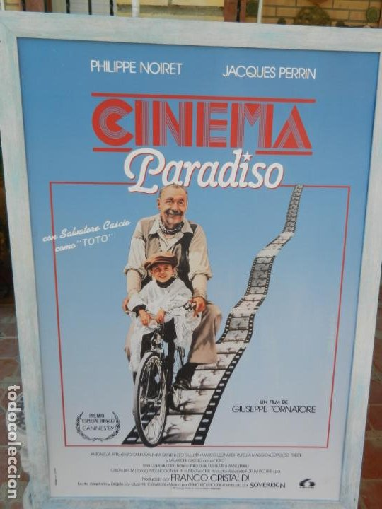 Cine: CARTEL ORIGINAL PELÍCULA CINEMA PARADISO - ENMARCADO - MIDE 107X76 CM. - Foto 3 - 211649906