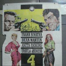 Cine: CDO 4030 4 TIOS DE TEXAS FRANK SINATRA DEAN MARTIN URSULA ANDRESS POSTER ORIGINAL 70X100 ESTRENO. Lote 211675269