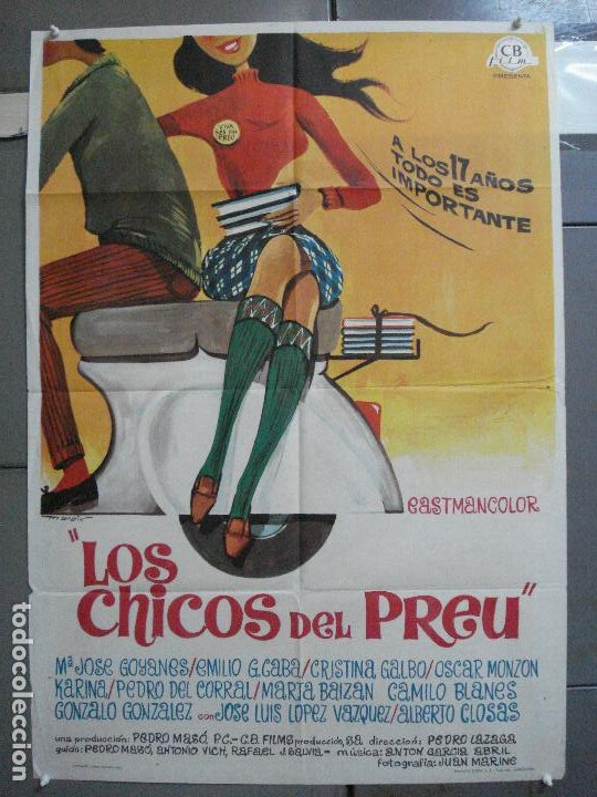 CDO 4034 LOS CHICOS DEL PREU VESPA KARINA CAMILO SESTO LOS PEKENIKES POSTER ORGINAL ESTRENO 70X100 (Cine - Posters y Carteles - Clasico Español)