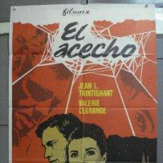 Cine: CDO 4039 EL ACECHO JEAN-LOUIS TRINTIGNANT VALERIE LANGRAGE POSTER ORIGINAL ESTRENO 70X100. Lote 211677815