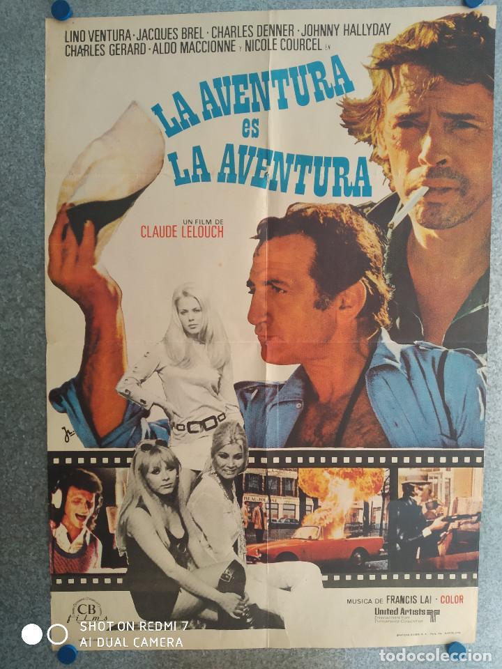 LA AVENTURA ES LA AVENTURA. LINO VENTURA, JACQUES BREL. AÑO 1972. POSTER ORIGINA (Cine - Posters y Carteles - Comedia)