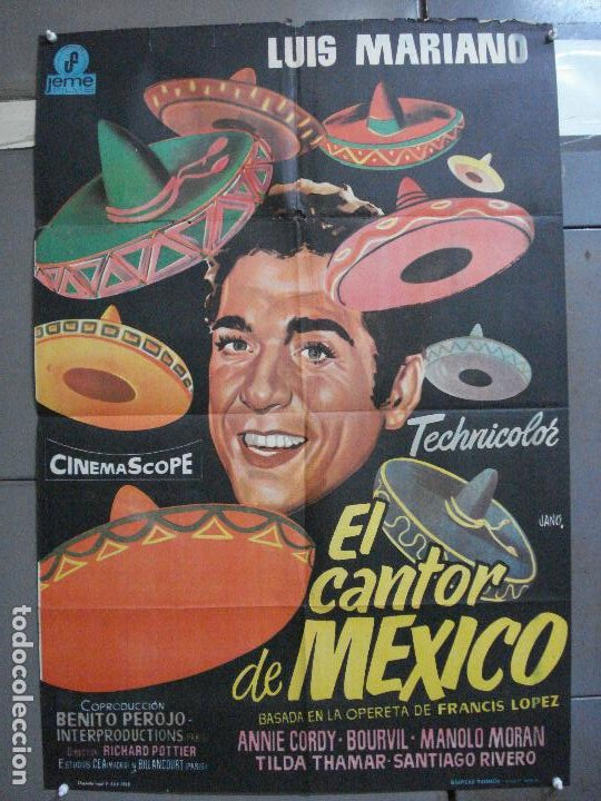 CDO 4118 EL CANTOR DE MEXICO LUIS MARIANO POSTER ORIGINAL 70X100 ESPAÑOL R-68 (Cine - Posters y Carteles - Musicales)