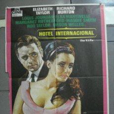 Cine: CDO 4149 HOTEL INTERNACIONAL ELIZABETH TAYLOR RICHARD BURTON POSTER ORIGINAL 70X100 ESPAÑOL R-73. Lote 211894945