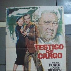 Cine: CDO 4177 TESTIGO DE CARGO MARLENE DIETRICH AGATHA CHRISTIE JANO POSTER ORIG 70X100 ESPAÑOL R-69. Lote 211965617