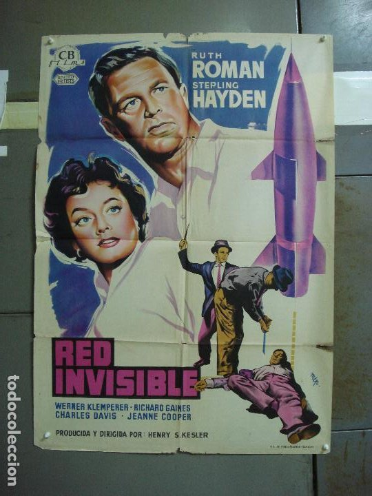 CDO 4181 RED INVISIBLE STERLING HAYDEN RUTH ROMAN POSTER ORIGINAL 70X100 ESTRENO LITOGRAFIA (Cine - Posters y Carteles - Suspense)