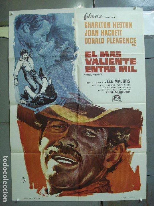 CDO 4221 EL MAS VALIENTE ENTRE MIL CHARLTON HESTON POSTER ORIGINAL 70X100 ESTRENO (Cine - Posters y Carteles - Westerns)