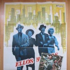 Cine: CARTEL CINE + 10 FOTOCROMOS ELLOS Y ELLAS MARLON BRANDO FRANK SINATRA 1975 CCF146. Lote 211987896