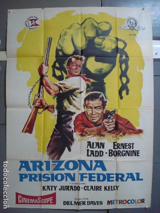 AAK77 ARIZONA PRISION FEDERAL ALAN LADD POSTER ORIGINAL 2 HOJAS 100X140 ESTRENO (Cine - Posters y Carteles - Westerns)