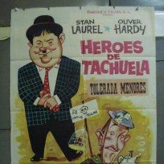 Cine: CDO 4278 HEROES DE TACHUELA HELPMATES STAN LAUREL OLIVER HARDY POSTER ORIGINAL 70X100 ESPAÑOL R-63. Lote 212110455