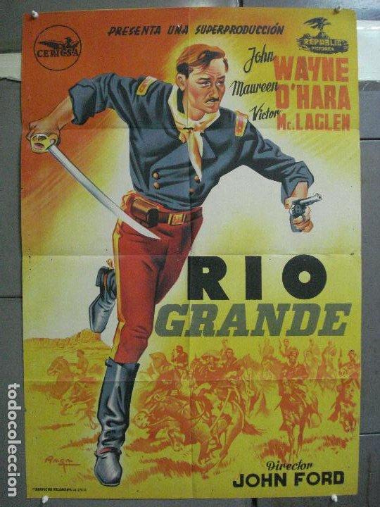 AAL32 RIO GRANDE JOHN WAYNE JOHN FORD POSTER ORIGINAL ESTRENO 70X100 LITOGRAFIA (Cine - Posters y Carteles - Westerns)