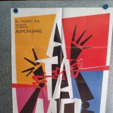 Cinema: ¡ÁTAME!. ANTONIO BANDERAS, VICTORIA ABRIL, ALMODOVAR. AÑO 1989. POSTER ORIGINAL ESTRENO. Lote 212463978