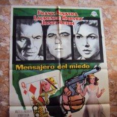 Cine: (CINE-58)EL MENSAJERO DEL MIEDO FRANK SINATRA LAURENCE HARVEY MAC POSTER ORIGINAL. Lote 212885378