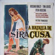 Cinema: LA BATALLA DE SIRACUSA, CON ROSSANO BRAZZI. POSTER 70 X 100 CMS.1963. DISEÑO: R. CORTIELLA.. Lote 212918183