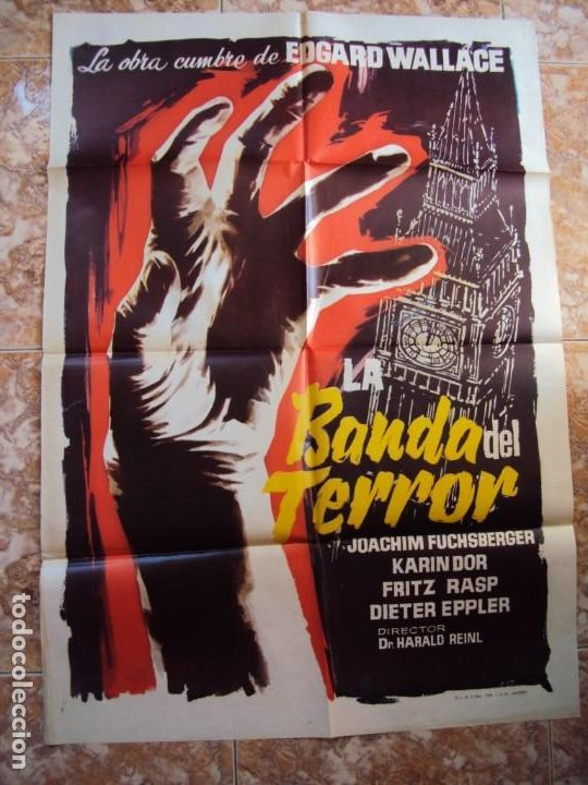 (CINE-145)POSTER ORIGINAL LA BANDA DEL TERROR (DIE BANDE DES SCHRECKENS) (JOACHIM FUCHSBERGER - KARI (Cine - Posters y Carteles - Terror)