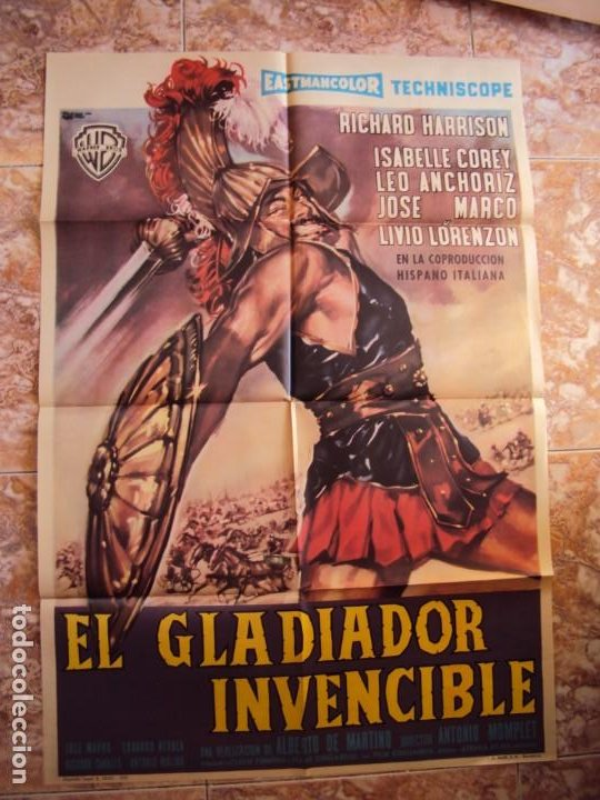 (CINE-254)EL GLADIADOR INVENCIBLE RICHARD HARRISON PEPLUM POSTER ORIGINAL (Cine - Posters y Carteles - Aventura)