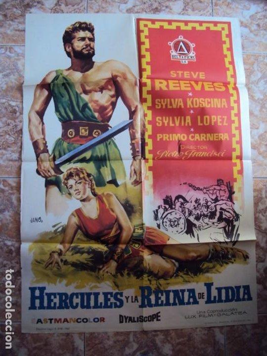 (CINE-233)HERCULES Y LA REINA DE LIDIA STEVE REEVES PEPLUM JANO POSTER ORIGINAL (Cine - Posters y Carteles - Aventura)