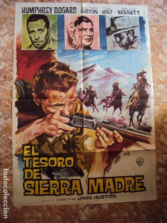 (CINE-380)EL TESORO DE SIERRA MADRE. JOHN HUSTON-HUMPHREY BOGART. CARTEL ORIGINAL 1964 (Cine - Posters y Carteles - Westerns)