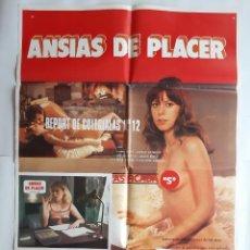 Cine: ANTIGUO CARTEL CINE ANSIAS DE PLACER Y 12 FOTOCROMOS 1981 C-658. Lote 213959410