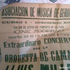 Cine: CARTEL 60X70 MUSICA DE GERONA CURSO I CONCIERTO XIII CINE MODERNO. Lote 214050636