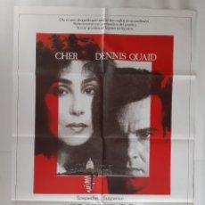 Cine: ANTIGUO CARTEL CINE SOSPECHOSO CHER DENNIS QUAID + 8 FOTOCROMOS 1987 CC-259. Lote 214098542
