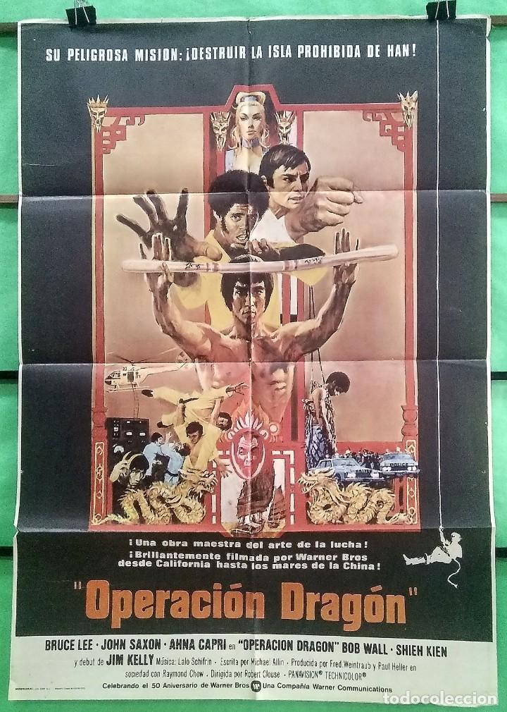 CARTEL ORIGINAL DE CINE - OPERACION DRAGON 1973 - BRUCE LEE - EXCELENTE - P2 (Cine - Posters y Carteles - Acción)