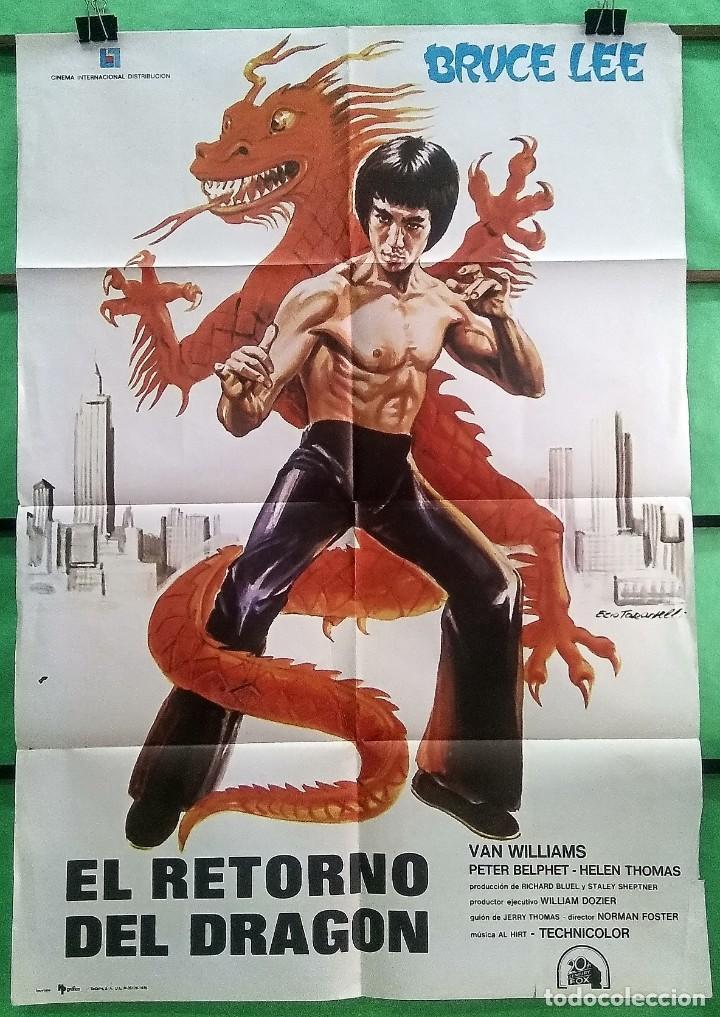 CARTEL ORIGINAL DE CINE - EL RETORNO DEL DRAGON 1974 - BRUCE LEE - EXCELENTE - P2 (Cine - Posters y Carteles - Acción)
