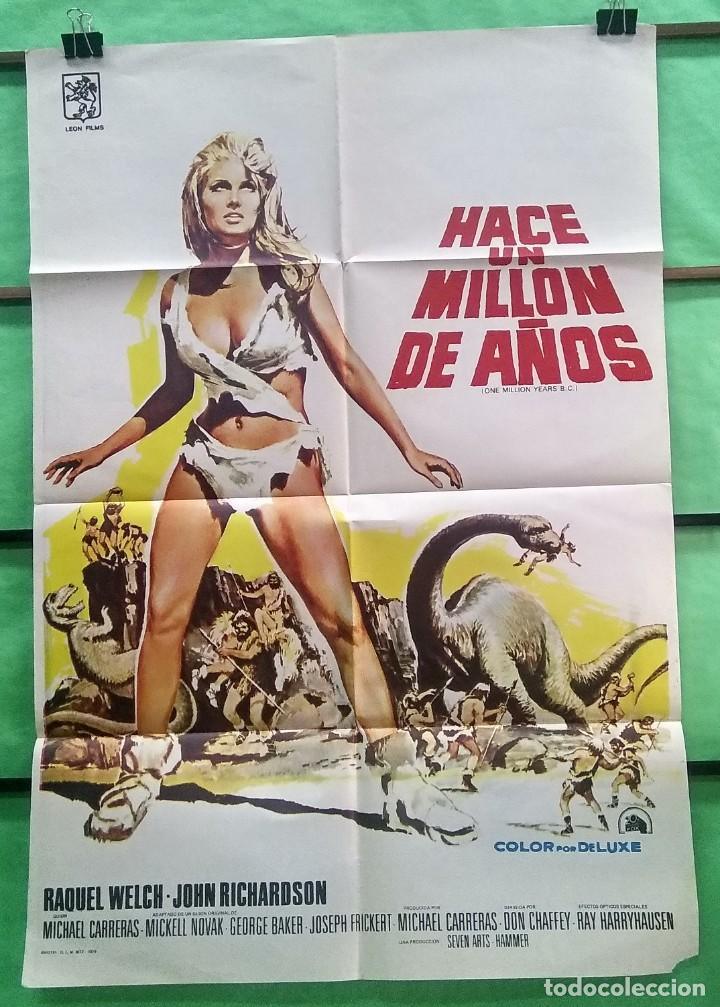 CARTEL CINE - HACE UN MILLON DE AÑOS 1966 - RAQUEL WELCH - ORIGINAL - EXCELENTE - P2 (Cine - Posters y Carteles - Aventura)