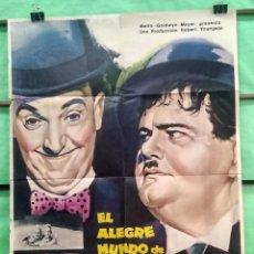 Cine: CARTEL CINE - EL ALEGRE MUNDO DE LAUREL Y HARDY 1966 - ORIGINAL - BUENO - P2. Lote 214286835