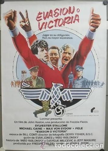 E803 EVASION O VICTORIA PELE MICHAEL CAINE FUTBOL POSTER ORIGINAL 70X100 ESTRENO (Cine - Posters y Carteles - Deportes)