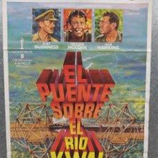 Cinema: EL PUENTE SOBRE EL RÍO KWAI. WILLIAM HOLDEN, ALEC GUINNESS. POSTER ORIGINAL. Lote 215281638
