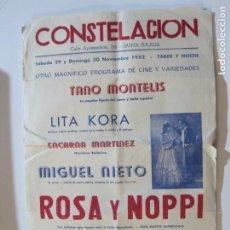 Cine: SANTA EULALIA-CONSTELACION-PROGRAMA DE CINE AÑO 1952-LITA KORA-TANO MONTELLIS..-VER FOTOS-(V-22.084). Lote 215951383