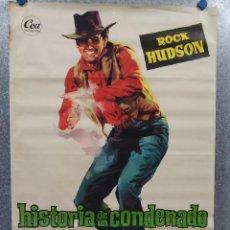 Cine: HISTORIA DE UN CONDENADO. ROCK HUDSON, JULIE ADAMS. AÑO 1960. POSTER ORIGINAL. Lote 216590001