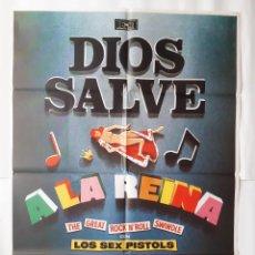 Cinéma: ANTIGUO CARTEL CINE DIOS SALVE A LA REINA LOS SEX PISTOLS MAD C695. Lote 216714962