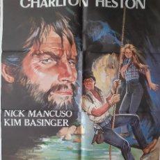 Cinema: CARTEL CINE DUELO EN LAS PROFUNDIDADES CHARLTON HESTON KIM BASINGER A150. Lote 216781435