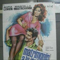 Cinéma: AAN69 MATRIMONIO A LA ITALIANA SOFIA LOREN MARCELLO MASTROIANNI POSTER ORIGINAL 70X100 ESPAÑOL R-72. Lote 217028756