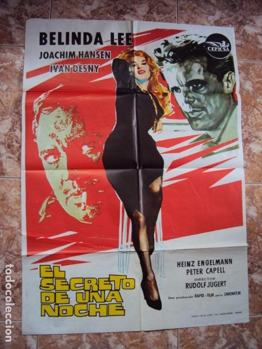 (CINE-432)EL SECRETO DE UNA NOCHE - CARTEL ORIGINAL (Cine - Posters y Carteles - Acción)