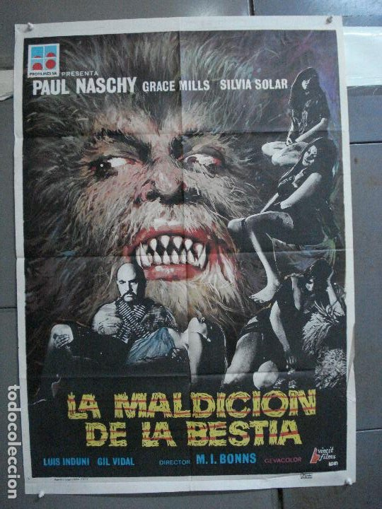 CDO 4918 LA MALDICION DE LA BESTIA PAUL NASCHY POSTER ORIGINAL 70X100 ESTRENO (Cine - Posters y Carteles - Terror)