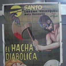 Cine: CDO 4921 EL HACHA DIABOLICA SANTO EL ENMASCARADO DE PLATA WRESTLING POSTER ORIGINAL ESTRENO 70X100. Lote 217244011